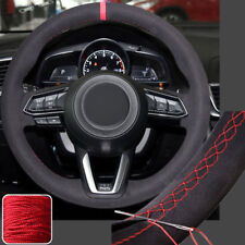 Suede Steering Wheel Cover Hand Stitch Wrap for 2017 18 Mazda 3 6 CX-5 CX-9 16