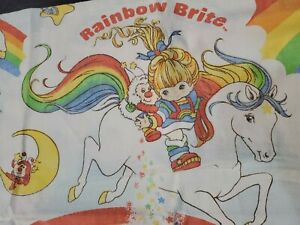Vtg Rainbow Brite Flat Sheet Full Size USA Flannel Hallmark 1983 68x88 EUC USA