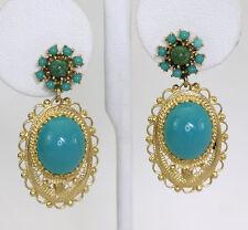 Turquesa jade pendientes 14K oro amarillo cuenta ovalado gemas 20.25C