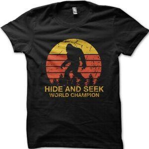 Sasquatch Bigfoot Hide and Seek world champion black cotton t-shirt 9032