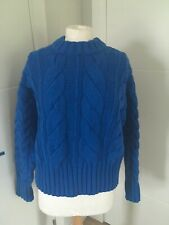 H&M BLUE CABLE ARAN KNIT SHORT  JUMPER SIZE S 100% GENUINE NEW WITH TAGS