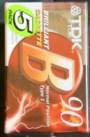 Factory sealed 5 pack TDK B90 Brilliant Cassettes Normal Position Type 1