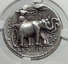 SELEUKOS I Seleukid Tetradrachm NGC Certified ELEPHANTS Silver Greek Coin i64228