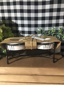 NEW Rae Dunn dog bowl set LL EAT DRINK with Metal Stand