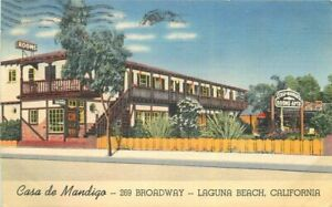 California Laguna Beach 1943 Postcard Casa de Mandigo roadside Teich 21-10681