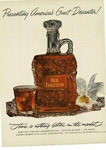 1952 OLD FORESTER Bourbon decanter & glass on silver platter Vintage Ad