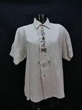 Gr.M Trachtenhemd Distler beige Leinen Edelweiß Enzian Stickerei Hemd TH1519