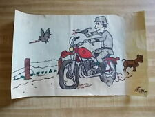 Hand Drawn Funny Picture of German Soldier on Notebook Paper One of a Kind! 1975