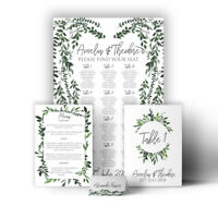 Personalised Wedding Table Plan Planner Stationery set green wreath botanic