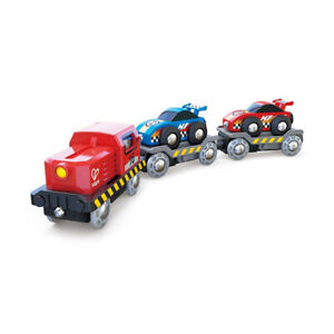 Hape E3735 Racing Car Transporter for Wooden Railway New! #