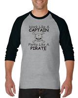 Gildan Raglan Tshirt 3/4 Sleeve Funny Work Like A Captain Party Like Pirate