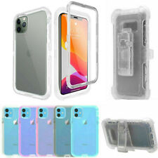For iPhone 12 11 Pro Max XR Dual Layer Transparent Belt Clip Holster Case Cover