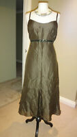 Fabrici @ Simply Be Olive Green 74% Silk & Linen Mix Dress Size UK 16