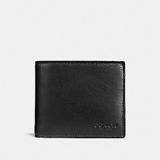New Authentic Men Coach F74991 3-In-1 Sport Leather Compact ID Wallet - Black