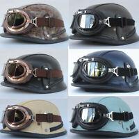 Retro Motorcycle Half Helmet w/Goggles Deluxe Leather Skull Cap Scooter Chopper