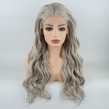 Meiyite Hair Wavy Long 24inch Grey Realistic Synthetic Lace Front Wig