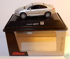 MICRO METAL DIE CAST SCHUCO HO 1/87 PEUGEOT 407 COUPE GRIS CLAIR IN BOX