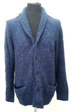 NEW Abercrombie & Fitch Cardigan with Shawl Collar in Heavy Rib Knit, Navy - XL