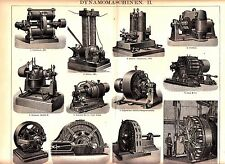 1890 Dynamo Machine Machinery Edison Ganz Antique Lithograph Print