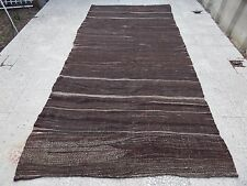 Mid Century Handwoven Natural Color Wide Goat Hair Kilim Rug Runner 5.2x10.5ft.