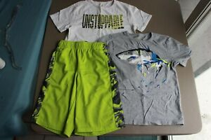 Gymboree GymGo Line Boy 2 T-Shirts and Shorts EUC Size L 10 - 12 Lot of 3