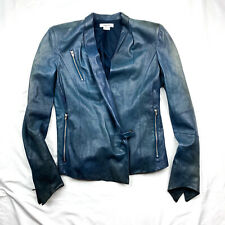 Helmut Lang Distressed Blue Leather Jacket Size XS Rare
