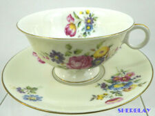 Theodore Haviland New York Pasadena Footed Cup & Saucer Flowers Gold Trim