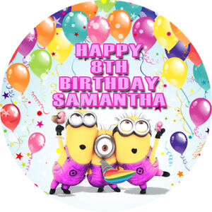 Minions Edible Cake Image Icing Personalised Birthday Decoration Party Topper