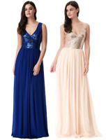 Goddiva Sequin Chiffon V Neck Maxi Evening Dress Prom Bridesmaid Ball Party