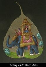 Indian Peepal Leaf Hand-painted with Elephant Scene