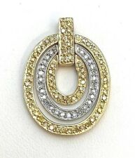 10k Yellow & White Gold w/ Yellow & White Diamond Triple Oval Moving Pendant