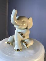 Vintage Lenox Baby Elephant Porcelain Figurine Trunk Up 24k Gold Accents 2.5""