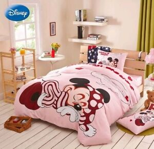 4pc. DISNEY'S SLEEPING MICKEY COTTON PINK TWIN FULL/QUEEN DUVET COVER SET