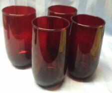 """4 Vintage Anchor Hocking Royal Ruby Tumblers Water Glasses 3 are 5"""", 1 is 4 3/4"""""""
