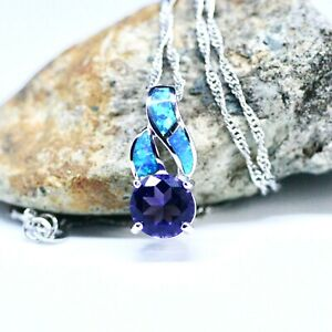 Amethyst and Blue Opal Pendant Sterling Silver 925 , February October Birthstone