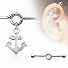 8Ship Anchor Charm Dangle Industrial Barbell Industrial bar Surgical 14g 1 3/8
