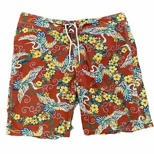 Polo Ralph Lauren Board Shorts Men's 34 Orange Yellow Green Floral Cotton Nylon
