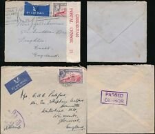 GIBRALTAR 1940 + 1944 CENSORED AIRMAILS to GB