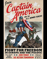 Captain America Poster Marvel Comics Cover Wall Decoration High Quality 16x20
