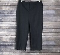 Ann Taylor LOFT Black White Pinstriped Cropped Cuffed Career Dress Pants Size 8
