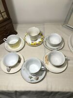 Lot of 6 Vintage Mismatched Tea Cups and Saucers Bone China - Mad Hatter Shabby