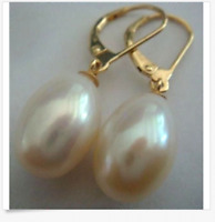 gorgeous a pair of 11-12mm south sea baroque white pearl earring 14k