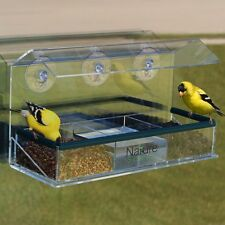 Extra Large Nature Scene Clear Acrylic Window Bird Feeder, 3 Suction Cups Great!