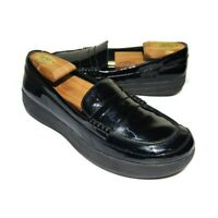 FitFlop F-Sporty Penny Loafers Slip On Shoes Patent Black Size 9 US Shoes