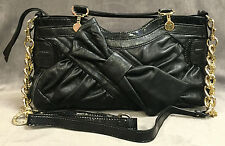 NEW GUESS BY MARCIANO BLACK LEATHER BOW CROSS BODY SATCHEL BAG HANDBAG PURSE
