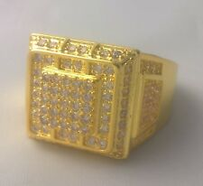 G-Filled 18k yellow gold simulated diamond Men's ring Gent's Pimping bling US 11