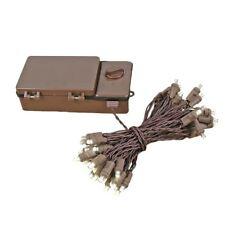 50 Light Led Battery Christmas Mini Light Set, Warm White, Brown Wire, 18' Long