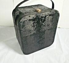 Stunning! Black Vinyl Velvet Feather Vintage Air-Lander Hat Box Wig Carry Case