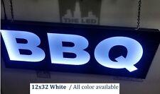 "Bbq Sign,Led Light Box Sign, Restaurant signs, Light up sign 12'x30""x2'"