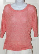 FOREVER XXI Coral Ivory Speckled Boatneck 3/4 Sleeve Women's Sweater Sz L
